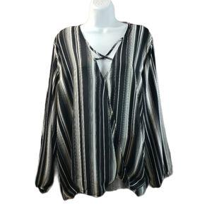 Rue+ Striped Long Sleeve Blouse Plus Size 4X